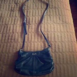 Coach Navy Patent Leather Slingbag